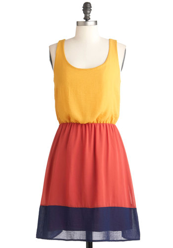 Swatch and Learn Dress - Multi, Orange, Yellow, Blue, Casual, A-line, Tank top (2 thick straps), Mid-length, Colorblocking, Holiday Sale, Scoop