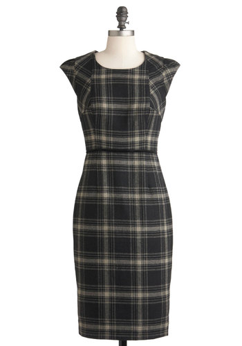 The Interview from Up Here Dress - Long, Black, Tan / Cream, Plaid, Exposed zipper, Work, Casual, Scholastic/Collegiate, Pencil, Cap Sleeves, Fall, Vintage Inspired