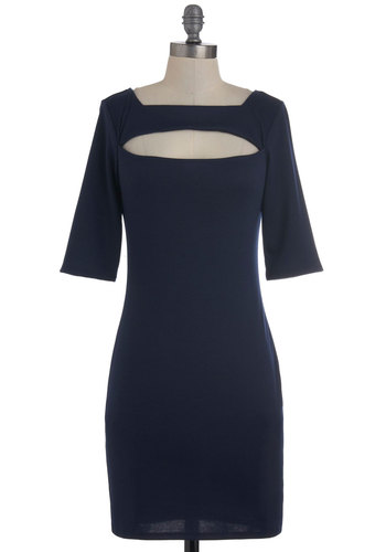 All the Verve Dress - Blue, Solid, Cutout, Party, Shift, 3/4 Sleeve, Fall, Cocktail, Mid-length, Girls Night Out, Bodycon / Bandage