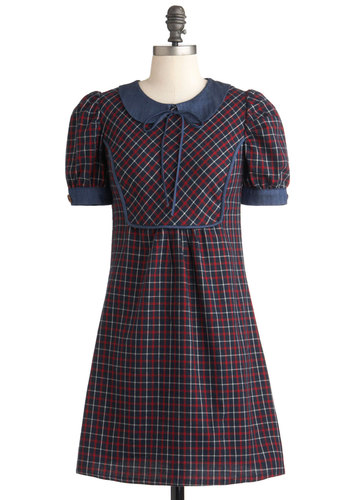 I Plaid a Lovely Time Dress - Red, Blue, Plaid, Peter Pan Collar, Casual, Sheath / Shift, Short Sleeves, Fall, Short, White, 90s, Scholastic/Collegiate, Cotton, Collared