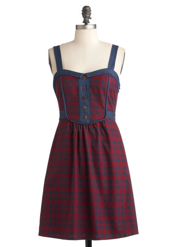 Schoolyard Sweet Dress - Red, Blue, Plaid, Buttons, Casual, A-line, Sleeveless, Fall, Mid-length, Scholastic/Collegiate, Cotton, Holiday Sale, Fit & Flare, Sweetheart