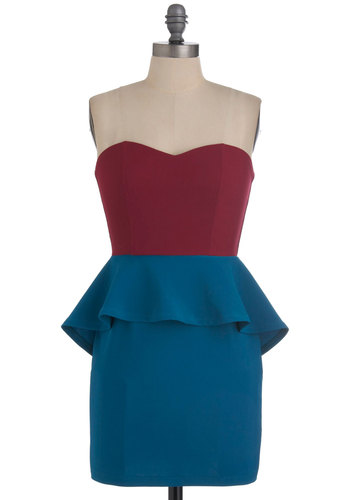 Dance 'Til You Drop Dress - Blue, Purple, Party, 80s, Strapless, Peplum, Short, Girls Night Out