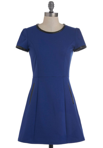 Bolt from the Blue Dress - Short, Blue, Black, Solid, Pockets, Party, Casual, Mod, Short Sleeves, Fit & Flare, Minimal