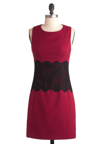 Kudos to You Dress - Short, Red, Lace, Party, Work, Cocktail, Vintage Inspired, Sheath / Shift, Sleeveless, Black, Holiday Party