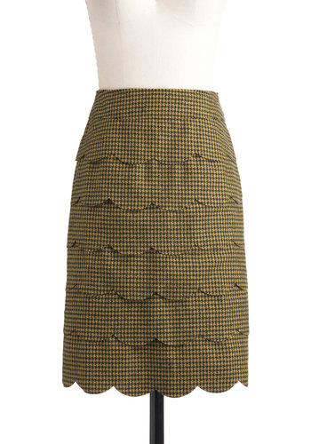 Teaching Assistant Skirt - Mid-length, Scallops, Work, Pencil, Scholastic/Collegiate, Yellow, Black, Houndstooth