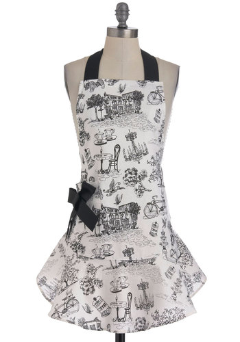 Bon Appetit Apron - Multi, Novelty Print, Vintage Inspired, French / Victorian