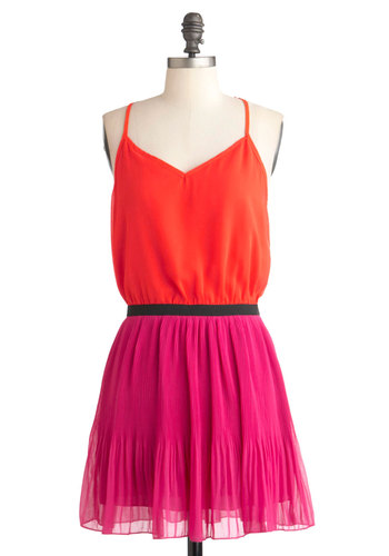 Reinvent the Zeal Dress - Short, Orange, Pink, Black, Party, Casual, Colorblocking, Summer