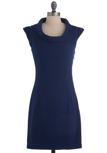 If You Feel So Inclined Dress - Mid-length, Blue, Solid, Casual, Mini, Cap Sleeves, Work, Girls Night Out, Cowl
