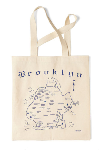 Place to Be Tote in Brooklyn - Cream, Blue, Casual, Travel, Cotton