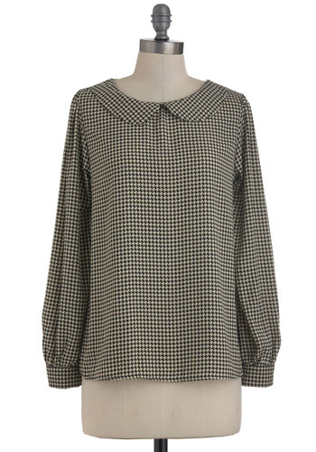 Secretaire Extraordinaire Top - Houndstooth, Peter Pan Collar, Long Sleeve, Mid-length, Tan / Cream, Black, Casual, Vintage Inspired, 60s, Scholastic/Collegiate, Collared