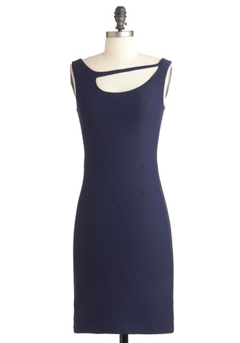 Comma Way with Me Dress - Blue, Solid, Work, Sheath / Shift, Sleeveless, Mid-length, Cutout, Party, Vintage Inspired