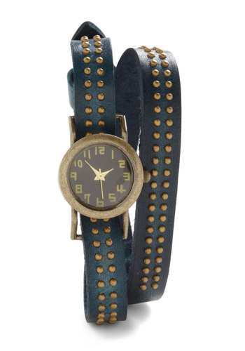 Wrist and Reward Watch - Blue, Gold, Studs, Casual, Urban, Leather