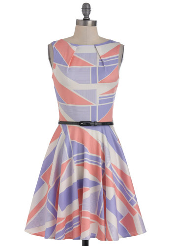 Luck Be a Lady Dress in Beach - Multi, Purple, Pink, White, Print, Party, Sleeveless, Spring, Belted, Fit & Flare, Mid-length, Exclusives, Pastel, Cocktail, Cotton