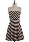 Latte Date Dress - Tan, Black, Stripes, Casual, A-line, Strapless, Mid-length, Cutout, Chevron