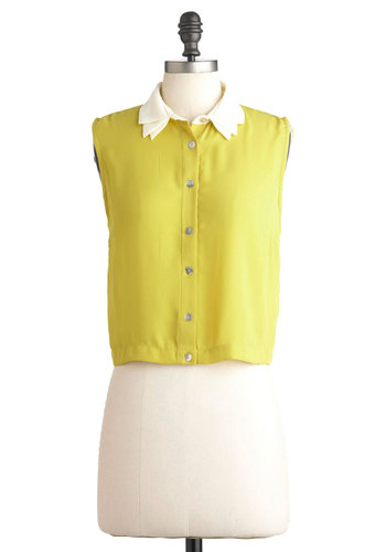 Quince I Can Remember Top - Yellow, White, Casual, Sleeveless, Short, Neon, Solid, Buttons, Cropped, Spring, Button Down, Collared