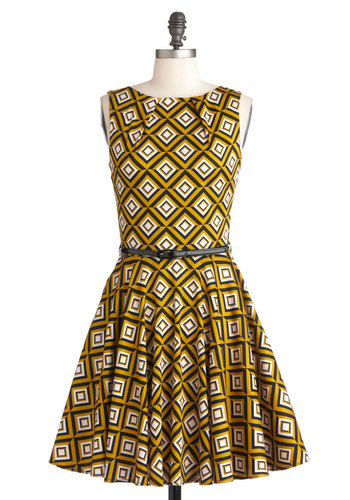 Luck Be a Lady Dress in Diamonds - Multi, Yellow, Black, White, Print, Party, Sleeveless, Belted, Fit & Flare, Mid-length, 60s, Exclusives, Cocktail, Cotton, Variation