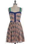 Pioneer and Dear Dress - Green, Blue, Pink, Floral, Casual, Empire, Tank top (2 thick straps), Spring, Summer, Short
