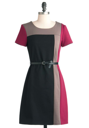 Fashionable Avenue Dress - Black, Grey, Work, 60s, A-line, Mid-length, Grey, Pink, Belted, Shift, Short Sleeves, Colorblocking