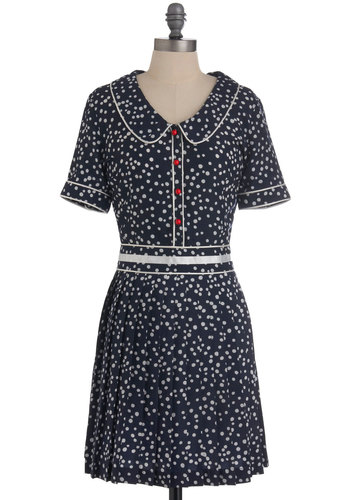 Bushel and a Speck Dress by Nishe - Mid-length, Blue, White, Polka Dots, Buttons, Rockabilly, 40s, Short Sleeves, Peter Pan Collar, Pleats, Vintage Inspired, Shirt Dress, Scholastic/Collegiate, Collared, International Designer, Tis the Season Sale