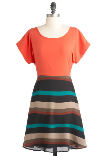 Everyday Escapade Dress - Green, Tan / Cream, Stripes, Casual, Twofer, Short Sleeves, Mid-length, Orange, Brown, Black, Cutout, Sheer