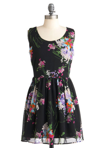 Drizzled Depiction Dress - Black, Multi, Floral, A-line, Sleeveless, Short, Casual