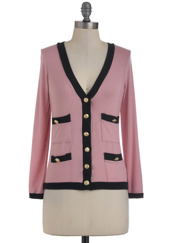 Rose to the Occasion Cardigan - Short, Pink, Black, Pockets, Long Sleeve, Buttons, Work, Fall, Button Down, V Neck