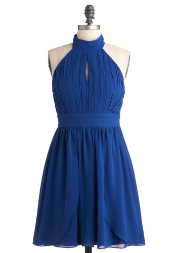Emboldened Opportunity Dress - Mid-length, Blue, Solid, Party, Cocktail, A-line, Halter