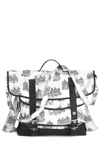 Bayside Abodes Bag by Nooworks - White, Black, Casual, Cotton, Tis the Season Sale