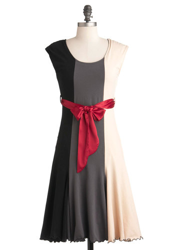 You've Got Moxie Dress by Effie's Heart - Long, Party, A-line, Short Sleeves, Red, Tan / Cream, Black, Grey, Pockets, Belted, Colorblocking