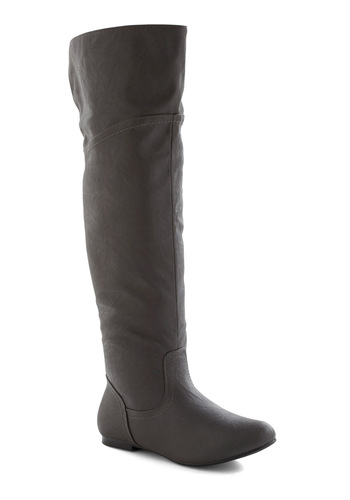 Get Stitched Quick Boot in Stone - Casual, Flat, Faux Leather, Over the Knee, Tis the Season Sale