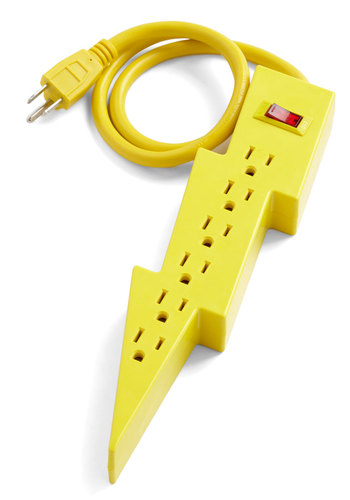 Jason's Super Power Strip by Kikkerland - Yellow, Dorm Decor, Urban, Quirky, Solid, Neon, Press Placement, Good, Guys