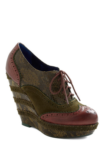 Give Me the Zoologist Wedge by Poetic License - Wedge, Print, Casual, Luxe, Statement, Fall, Leather, Platform, Lace Up, High, Menswear Inspired