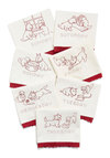Make My Days Tea Towel Set - White, Red, Vintage Inspired, Print with Animals