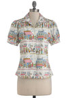 Year Abroad Top by Bernie Dexter - Mid-length, Multi, Novelty Print, French / Victorian, Short Sleeves, Cotton, Button Down, Collared, Work