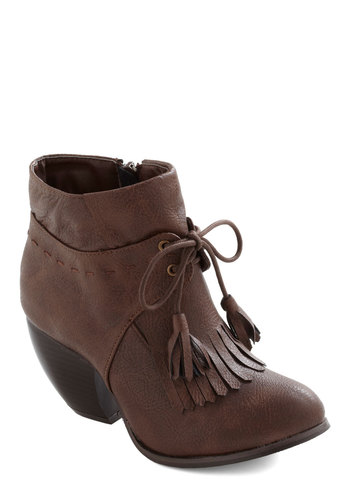 Canter Get Enough Boot - Brown, Solid, Tassels, Casual, Fall, Faux Leather, Mid, Steampunk, Lace Up, Tis the Season Sale, Variation