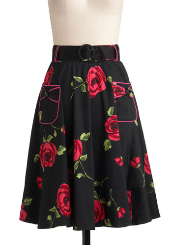 Noir Rose Garden Skirt - Long, Black, Red, Green, Floral, Pockets, A-line, Belted, Work, Vintage Inspired, 50s, Daytime Party