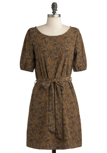 Swirled of Possibility Dress - Mid-length, Tan, Blue, Paisley, Casual, Vintage Inspired, 3/4 Sleeve, Fall, Sheath / Shift, Belted, Winter