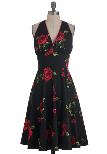 Noir Rose Garden Dress - Long, Black, Red, Green, Floral, Trim, Party, Rockabilly, Pinup, A-line, Halter, Cotton, V Neck