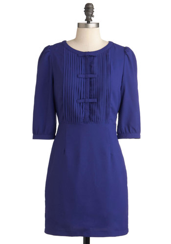 Cast a Spelling Bee Dress - Solid, Bows, Pleats, Fall, Short, Work, Sheath / Shift, 3/4 Sleeve, Scholastic/Collegiate, Blue