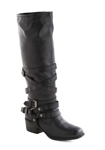 Harness Your Power Boot - Black, Solid, Buckles, Casual, Urban, Fall, Winter, Faux Leather, Mid