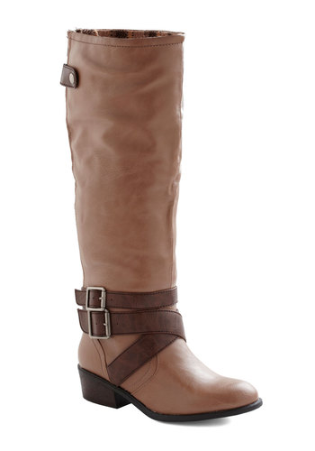Beige of Our Lives Boot - Tan, Brown, Buckles, Casual, Solid, Fall, Faux Leather, Low