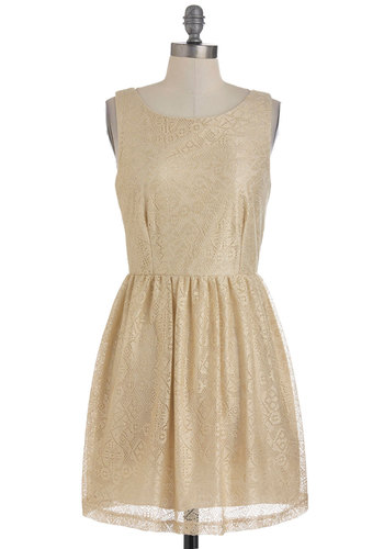 Glamour to Love Dress - Gold, Gold, Solid, Lace, Party, Vintage Inspired, A-line, Sleeveless, Fall, Short, Fairytale