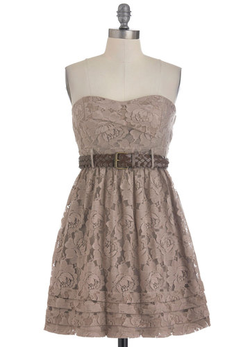 Stone Poses Dress - Brown, Lace, Party, A-line, Summer, Belted, Strapless, Sweetheart, Solid