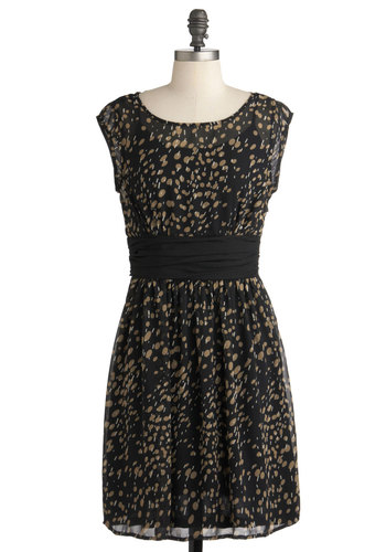 Storm of Abstraction Dress - Black, Tan / Cream, Print, Party, A-line, Cap Sleeves, Mid-length