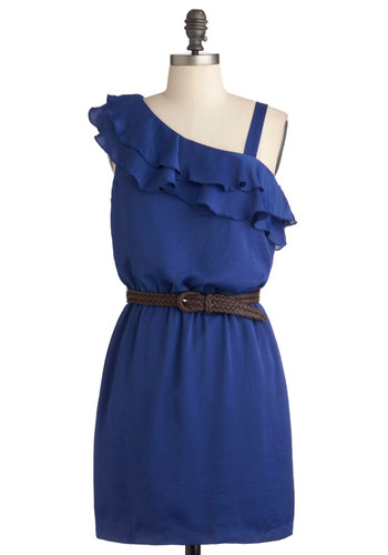 Cobalt of Lightning Dress - Blue, Solid, Ruffles, Party, Summer, Short, Belted, Sheath / Shift, One Shoulder