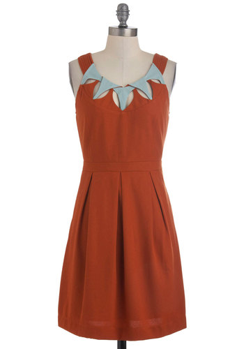 Patina on the Ritz Dress - Mid-length, Orange, Solid, Cutout, Pleats, Party, Casual, Vintage Inspired, 60s, A-line, Sleeveless, Pockets