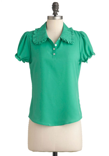 Grin Any Event Top - Green, Solid, Buttons, Short Sleeves, Mid-length, Casual, Collared