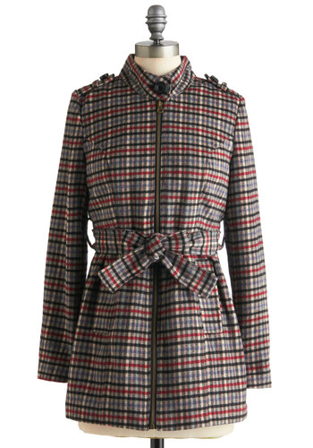 Loyal Fan Coat by Tulle Clothing - Mid-length, Multi, Red, Blue, Tan / Cream, Black, Plaid, Belted, Long Sleeve, 3, Epaulets, Exposed zipper, Pockets, Fall