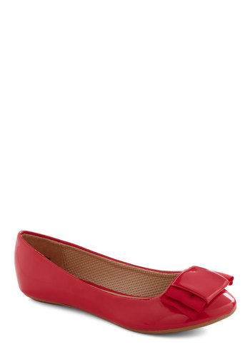 Dapper Darling Flat in Cherry - Red, Solid, Bows, Flat, Work, Casual, Faux Leather, Variation