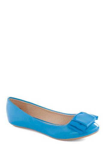 Dapper Darling Flat in Azure - Spring, Faux Leather, Flat